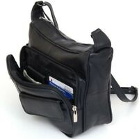 Women's Leather Organizer Black Shoulder Bag Multiple Pockets Cross Body Handbag