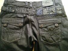 Mens ETO Dark Grey Coated Jeans Straight Leg Waist 34 Short Leg 30