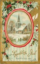 Posted 1909 Embossed Swedish Christmas PC Lycklig Jul, Vignette w Church in Snow