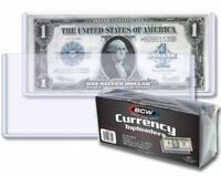 50 RIGID Currency Banknote Holder Toploader 6.5 x 3 BCW Case Regular Size Modern
