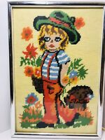 Vintage Embroidery Needlepoint Completed Finished Framed 70s Wall Art