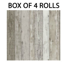 Wood Effect Wallpaper Distressed Grain Wooden Realistic Panels Vinyl x 4 Rolls