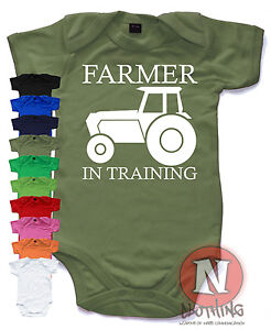 Farmer in training  Cute Babygrow Baby Suit Great Gift vest farming agriculture