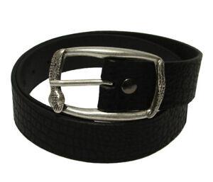 Tobacco Road Rocker Black Leather Belt Snake design Buckle, Made in USA
