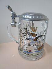 Vintage Lidded Etched Glass DUCKS / GEESE Beer Stein ALWE MULTICOLOR