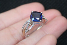 New 10K Lab Blue Sapphire Diamond & 0.15ct Diamond Multi Row Ring White Gold