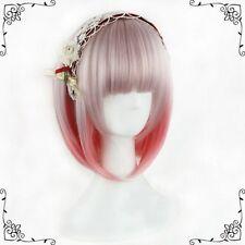 Short Straight Hair Full Wig, Lolita Bob Princess Wigs Mixed Pink Wig