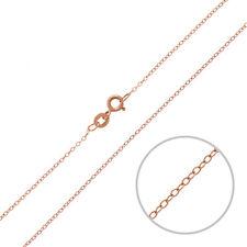 """Oro Rosa Vermeil 1.3mm Oval Trace Cadena Con Broche 18"""" (P30/10)"""