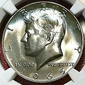 ELECTRIC BLUE CRESCENT RAINBOW TONED! 1965 KENNEDY HALF DOLLAR NGC MS-67