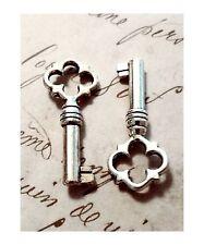 """Skeleton Keys Antiqued Silver Barrel 2 pieces 1.5"""" Steampunk Old Vintage Wedding"""