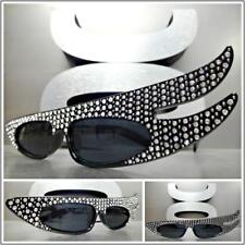 Unique Funky RETRO Style SUNGLASSES Black Frame Clear Bling Crystals Rhinestones