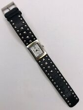 Ladies Kenneth Cole Reaction Watch With Pyramid Studs And Black Leather Band