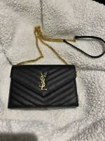 Yves Saint Laurent YSL SMALL Matelassé Leather Wallet On Chain clutch crossbody