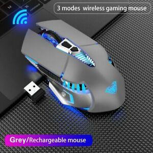Wireless Rechargeable Gaming Mouse 7 Buttons USB 3 Modes Optical Ergonomic Mouse