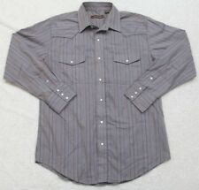 Pearl Snap Dress Shirt Large Gray Beige Striped Western Long Sleeve Roper Rodeo