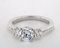 1.80 Ct Round Diamond Wedding Engagement Ring Real 14k White Gold Rings Size L N