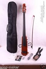 4/4  New Electric Cello Silent Powerful Sound Ebony Part Hand Play #15