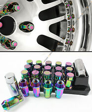 JDM R STYLE NEO CHROME WHEEL LUG NUTS+KEY & LOCK FOR NISSAN 350Z 370Z 300Z 240SX