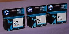 Set of 3 Genuine HP 901 Black (1), Tri-Color (2) Ink Cartridge - New Sealed