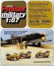 Preiser 16563 H0 Motorrad Zündapp KS 750, 3 Stück Motorräder mit Beiwagen, WW II