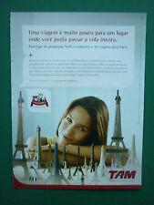 8/2009 PUB TAM LINHAS AEREAS BRASILEIRAS AIRLINES TOUR EIFFEL PORTUGUESE AD