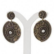 Antiqued Gold Fashion Earrings Post Swirl Rhinestone Drop  Jewelry