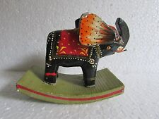 Vintage Handcrafted Painted Wooden Elephant Statue Home Decor Collectible