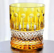 1 AJKA XENIA King Louis Yellow Gold Cut to Clear Crystal DOF Whiskey Glass New