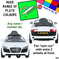 Personalised Kids Number Licence Plate fits 6v Audi Spyder SPIN CAR ride-on car