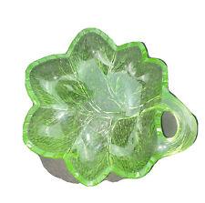 "Vintage Indiana Glass uranium pebble green leaf dish 6.5"" X 7"""