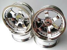 Rc Car 1/10 Drift 5 Spoke 37R Rims Wheels 6mm Offset fits Tamiya HPI HSP CHROME