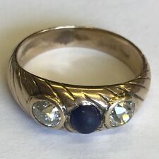 Antique Solid 18ct Gold Tested Diamond & Cabochon Sapphire Ring Size I1/2