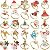 Christmas Tree Santa Claus Deer Ring Size 7 Adjustable Xmas Party Jewelry Gift