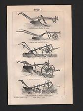 Lithografie 1897: Pflüge I/II. Landwirtschaft Geräte Technik
