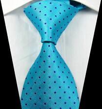 New Classic motifs bleu turquoise Jacquard Tissé 100% Soie Hommes Cravate Cravate