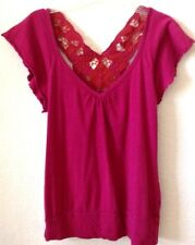 Juniors Fuchsia/Pink Knit Shirt/Top Large Cotton Eyeshadow Short Sleeve New /Tag