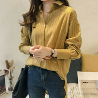 Womens Loose Blouses Long Sleeve Tops Casual Striped Shirts V Neck Button Blouse