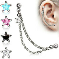 Star 316L Surgical Steel Double Chained Cartilage Earring