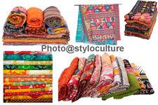 Kantha Quilt Vintage Reversible Blanket Throw Indian Bedding Bedspread Coverlet