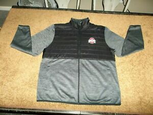 SCARLET AND GRAY~OHIO STATE BUCKEYES~MEN'S LARGE~GRAY~ZIP FRONT JACKET
