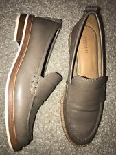 Coach Indigo Gray Brown Pebbled Leather Loafer Shoes Womens Size 8B