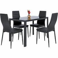 BCP 5-Piece Dining Table Set w/ Glass Top, Leather Chairs - Black