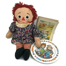 Raggedy Ann Vintage Pull Cord Fabric Plush Doll Plastic Plate Illustration Pages