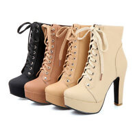 New Womens Block High Heels Lace up Platform Ankle Boots Plus Size Court Shoes
