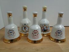 Bundle x 5 Bell's Whisky Decanter Bell Shaped HRH Queen Elizabeth Prince William