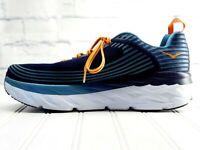 HOKA ONE ONE Bondi 6 Size 12.5M Men's Running Shoes Blue w/Orange Laces EUC