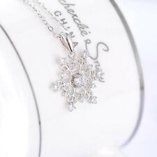 Beautiful Women Silver Plated Jewelry Vintage Snowflake Cubic Pendant Necklace