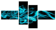 TEAL TURQUOISE ABSTRACT CANVAS PICTURE ON BLACK WALL ART MULTI 4 PANEL 146 CM
