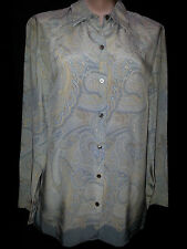 LIZ CLAIBORNE Womens Long Sleeve Button Front Shirt Sz 8 Small Paisley Blue Siik