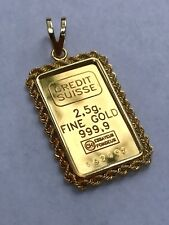 Credit Suisse 2.5 Grams Fine Gold Bar 999.9 Pendant with 14K Yellow Gold Frame
